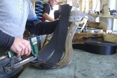 Part of the saddle making process at Black Country Saddlery