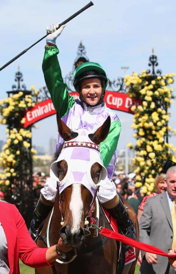 Michelle Payne and Prince of Penzance after winning the Melbourne Cup featured in Ride Like a Girl