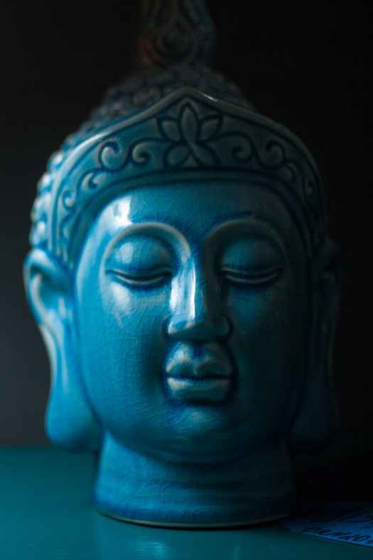 blue buddha ceramic head figurine