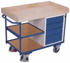 Etabli mobile avec 4 tiroirs et 3 plateaux