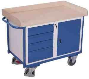 Etabli mobile avec 1 coffre 4 tiroirs et un plateau