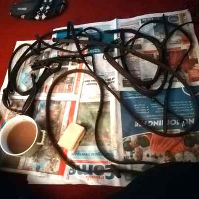 taking my bridle apart for a deep clean. I should clean it more often