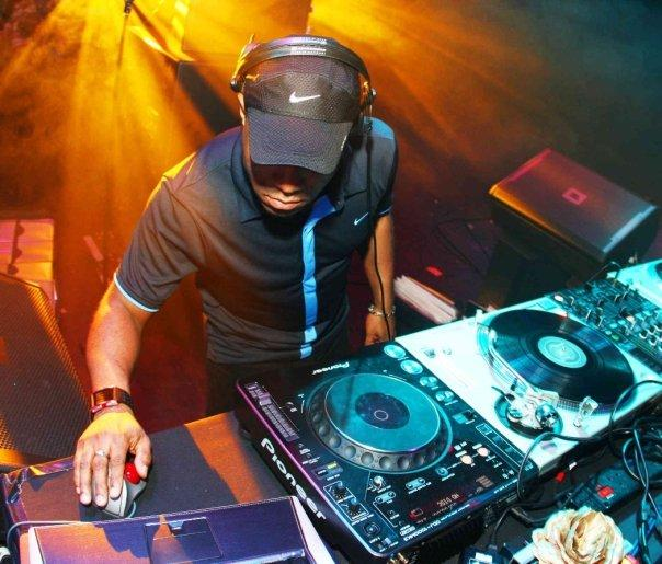 DJ in action at his turntable