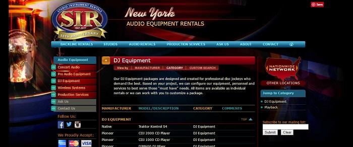 dj equipment rental new york