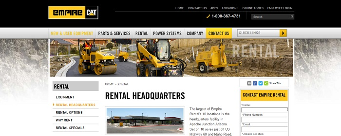 construction equipment rental arizona cat empire