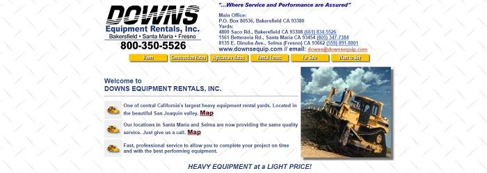 construction equipment rental california downs equipment rentals