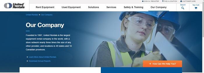 construction equipment rental michigan United Rentals