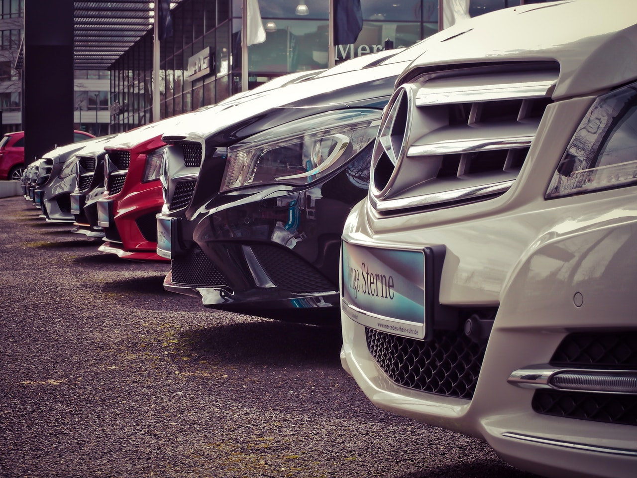 Cars parked in row