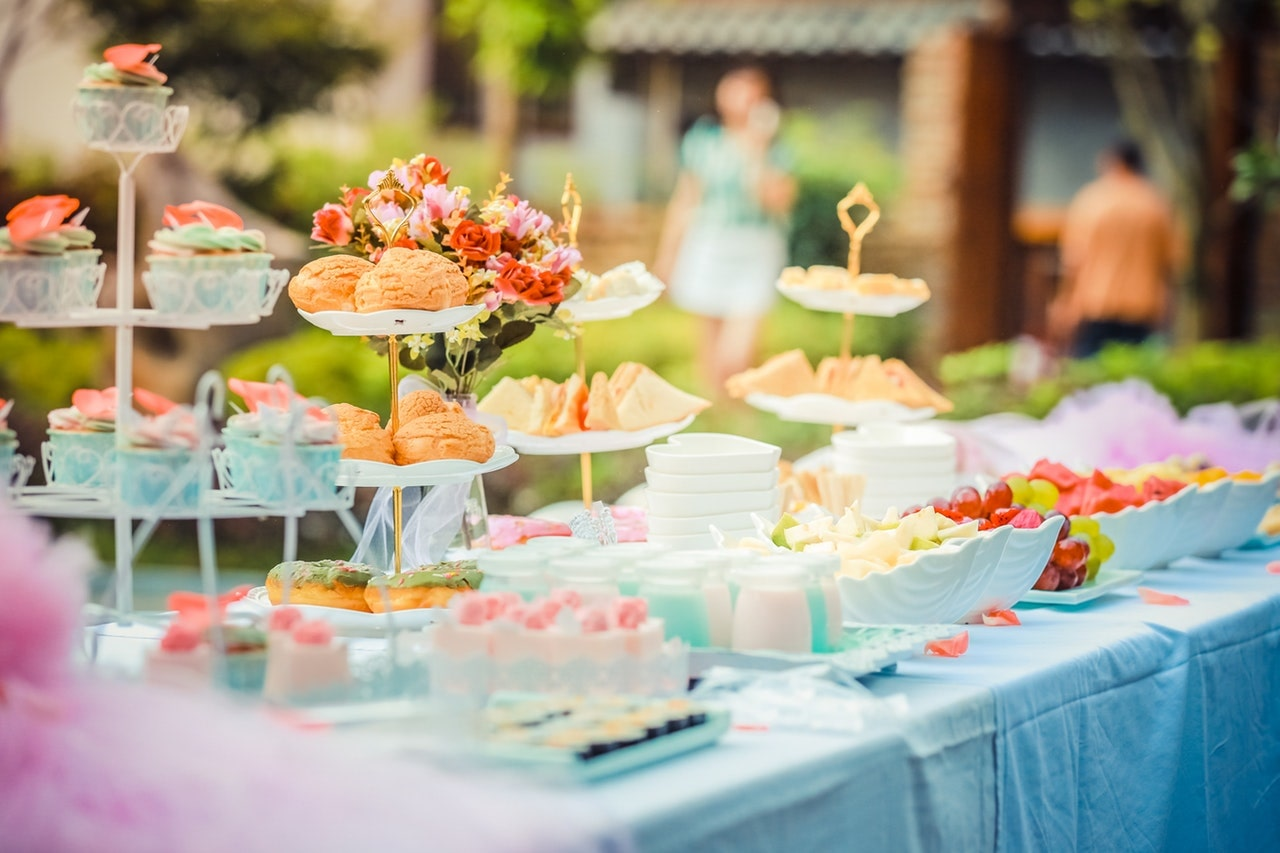 Party foods on table
