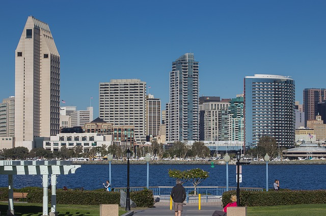 San Diego bay and City skyline