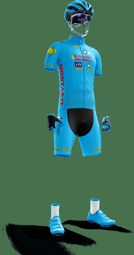 equipación equipo ciclista pizzería española sporting pursuit