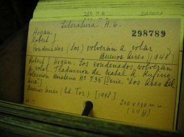 catalog card--hand written