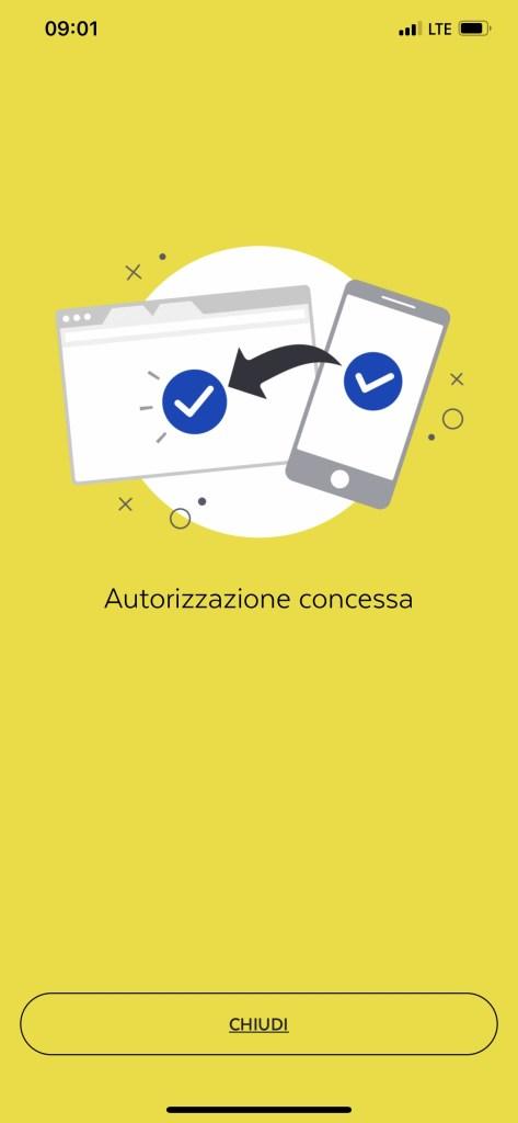 smartphone autorizzazione concessa