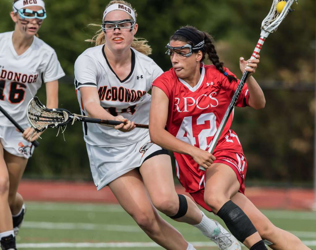 #42 Francesca Whitehurst (Roland Park) an early recruit at Georgetown cradles left handed against #14 Olivia Jenner (McDonogh) and early recruit at Duke at IAAM Girls Lacrosse Finals (2015) © Equity IX - SportsOgram - Leigh Ernst Friestedt - ZyGoSports
