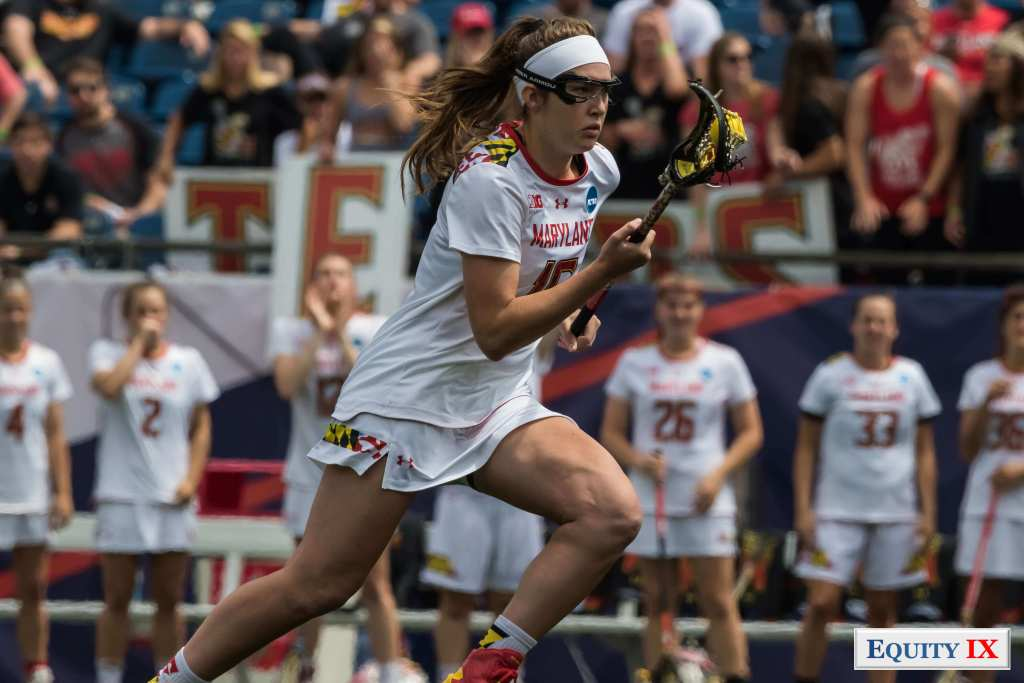 #16 Kali Hartshorn drives to goal strong right handed with a white head band and googles - Maryland - 2017 NCAA Women's Lacrosse © Equity IX - SportsOgram - Leigh Ernst Friestedt