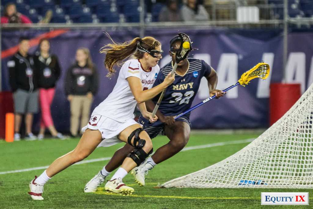 #2 Sam Apuzzo (Boston College) takes on #32 Blake Smith (Navy) at 2017 NCAA Women's Lacrosse Final Four © Equity IX - SportsOgram - Leigh Ernst Friestedt - ZyGoSports
