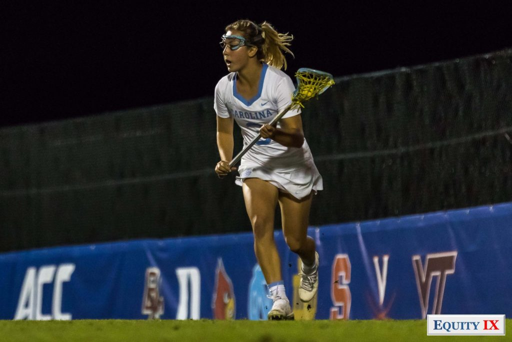 #3 Jamie Ortega (UNC) cradles the ball left handed at night - ACC Women's Lacrosse Champions - 2018 ACC Freshman of the Year - NCAA Women's Lacrosse © Equity IX - SportsOgram - Leigh Ernst Friestedt - ZyGoSports