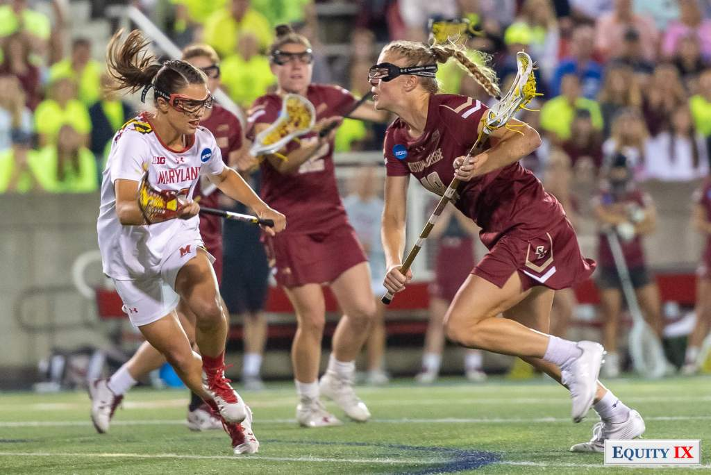 Dempsey Arsenault (#18 Boston College) attacks left handed against Kathy Rudkin (#33 Maryland) - 2018 NCAA Women's Lacrosse Final Four © Equity IX - SportsOgram - Leigh Ernst Friestedt