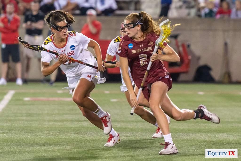Sam Apuzzo (#2 Boston College) - Tewaaraton Award Winner - drives left handed against Julia Braig (#24 Maryland) - 2018 NCAA Women's Lacrosse Final Four © Equity IX - SportsOgram - Leigh Ernst Friestedt