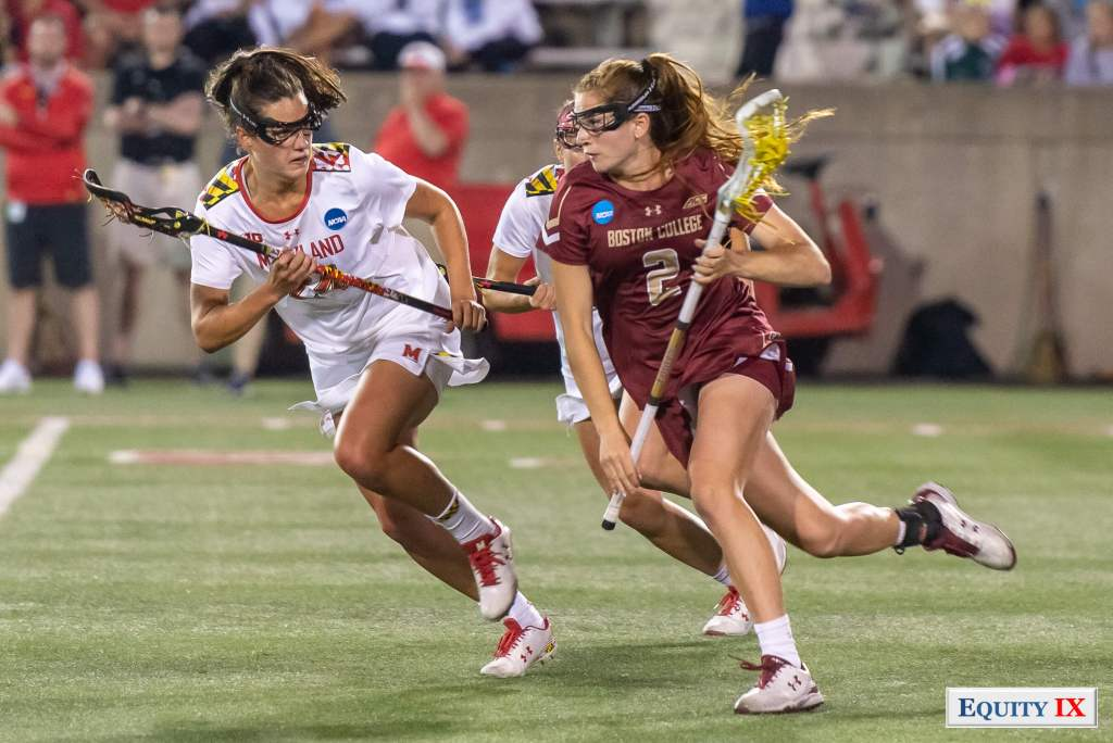 Sam Apuzzo (#2 Boston College) - Tewaaraton Award Winner - drives left handed against Julia Braig (#24 Maryland) in the midfield at 2018 NCAA Women's Lacrosse Final Four © Equity IX - SportsOgram - Leigh Ernst Friestedt
