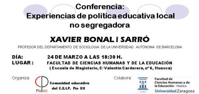 INVITACION CONFERENCIA XAVIER BONAL I SARRO