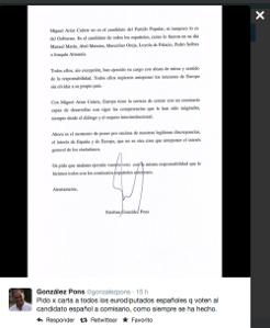 El PP pide el voto a europarlamentarios españoles para Cañete por ser español