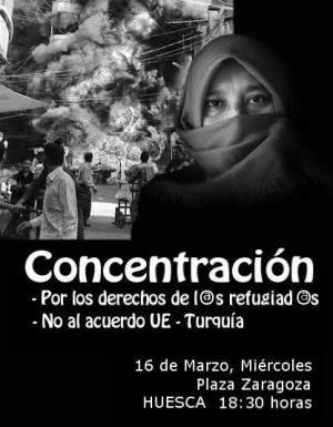 Concentración contra el acuerdo UE – Turquía. Mañana miércoles a las 18:30h en la plaza Zaragoza