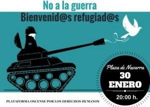 Concentración #Bienveni@sRefugiad@s #NOalaGuerra – Huesca, lunes 30 a las 20:00h Pza Zaragoza