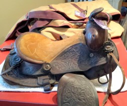 "Kid's western saddle, seat size 12"", missing cinch attachments (total parts value, approx. $15) $50"