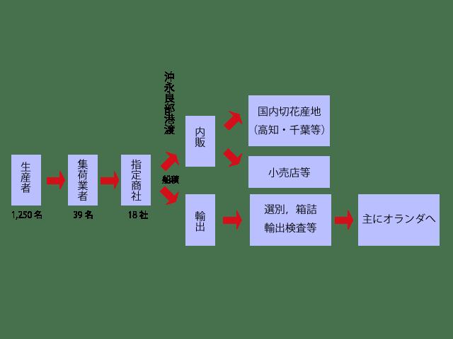 ゆり生産・販売の流通機構図