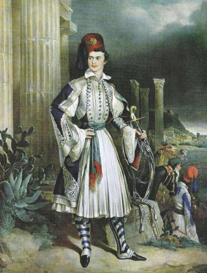 Μια ρομαντική απεικόνιση του Όθωνα με φουστανέλλα, μπροστά από αρχαία ελληνικά ερείπια. Gottlieb Bodmer.