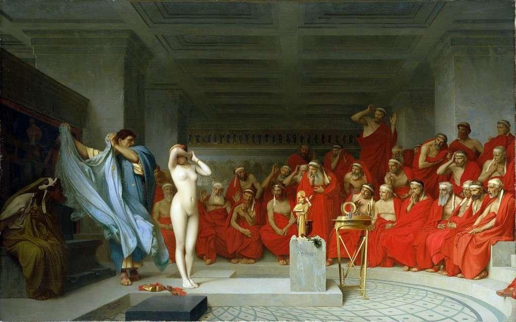Το επεισόδιο με την όμορφη εταίρα Φρύνη είναι πολύ γνωστό: η Φρύνη κατηγορείται για ασέβεια και απειλείται με την ποινή του θανάτου. Ο ρήτορας Υπερείδης, ο δικηγόρος της, έχει τη φαεινή ιδέα να αποκαλύψει το σώμα της πελάτισσάς του μπροστά στους δικαστές.