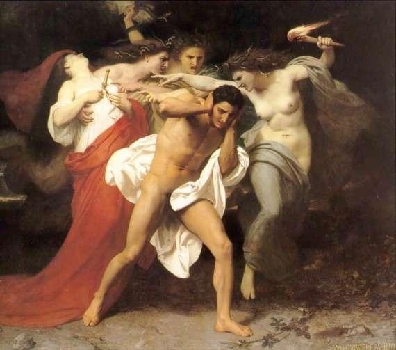 Στην ελληνική μυθολογία, ο Ορέστης ήταν γιος του Αγαμέμνονα και της Κλυταιμνήστρας, αδερφός της Ηλέκτρας και της Ιφιγένειας.  Πίνακας του William-Adolphe Bouguereau, Ορέστης και Ερινύες