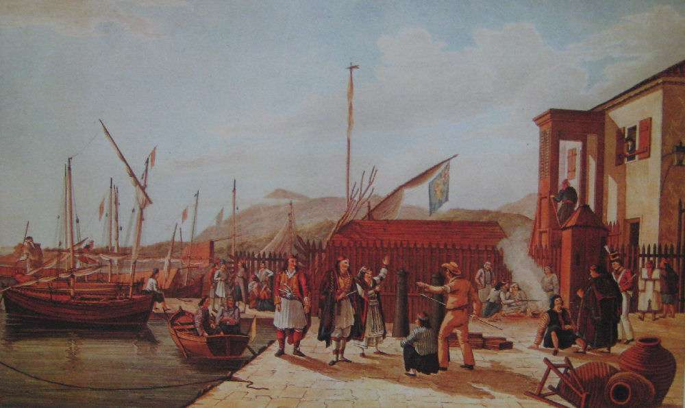 Το Υγειονομείο στη Λευκάδα, πίνακας του  J. Cartwright, 1821