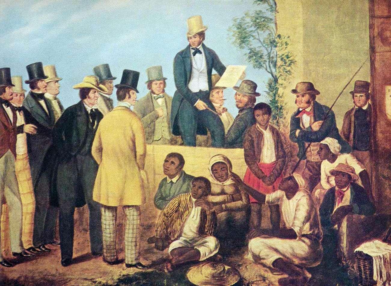 Αγοραπωλησία μαύρων σκλάβων στην Αμερική, περίπου 1850.
