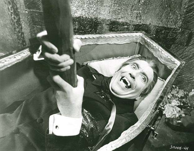 Movie legend: Christopher Lee as Count Dracula gets his comeuppance with a stake through the heart in the 1958 film Dracula Read more: http://www.dailymail.co.uk/sciencetech/article-2154837/Vampire-skeletons-unearthed-Bulgaria-iron-stakes-plunged-chests.html#ixzz4lnOMn3sh Follow us: @MailOnline on Twitter | DailyMail on Facebook