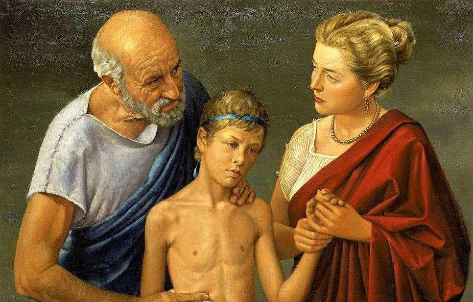 Ο Ιπποκράτης εξετάζει ένα παιδί. Πίνακας του Robert Thom (1950). Hippocrates is examining a child. Table of Robert Thom (1950).