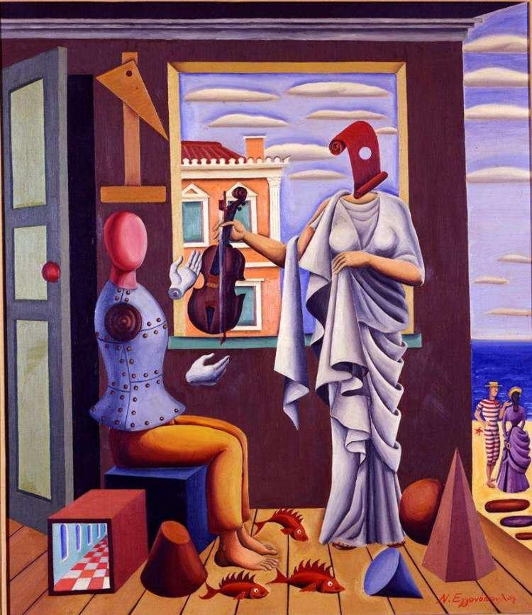 Νίκος Εγγονόπουλος. (1907 - 1985) Ποιητής και Μούσα, 1958, Αθήνα, Εθνική Πινακοθήκη.