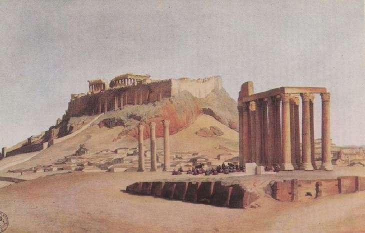 Η πόλη και η ακρόπολη των Αθηνών την περίοδο της οθωμανικής κυριαρχίας.
