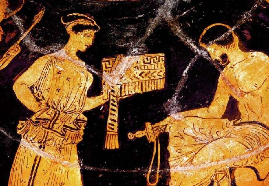 Οδυσσέας και Καλυψώ. Αθηναϊκό ερυθρόμορφο αγγείο, 450 π.Χ