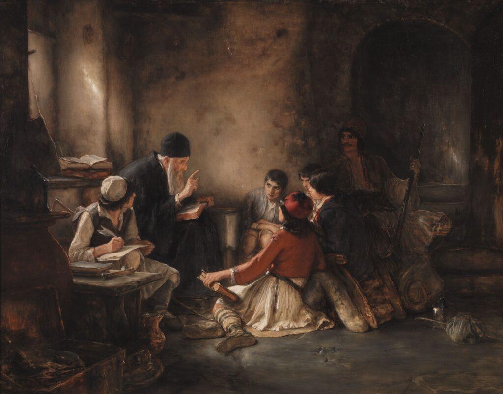 Νικόλαος Γύζης. Το κρυφό σχολειό· ελαιογραφία. 1885/86.
