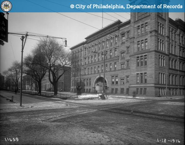 13th and Spring Garden Streets-Looking East. Philadelphia Normal School