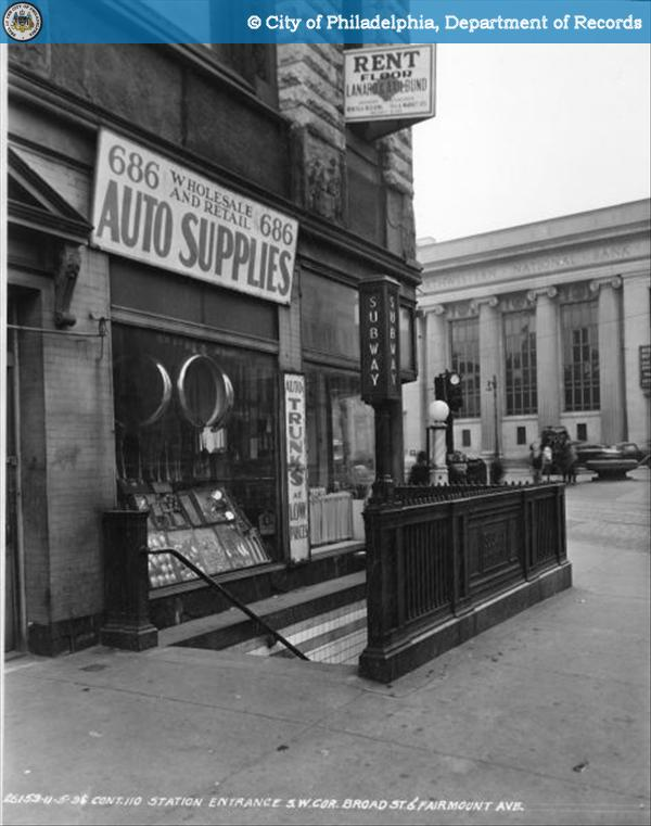 Contract 110 - Station Entrance - Southwest Corner - Broad Street and Fairmount Avenue.