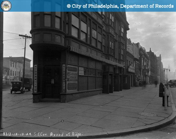 Subway Station Location - Southeast Corner of Broad [Street] at Ridge [Avenue].