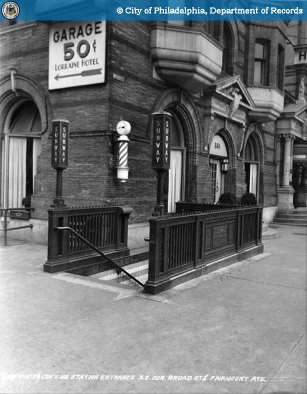 Contract 110 - Station Entrance - Southeast Corner - Broad Street and Fairmount Avenue.