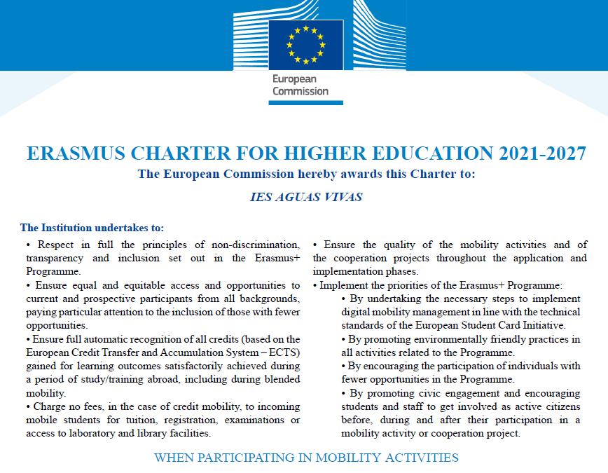¡Conseguida la Carta Erasmus de Educación Superior (ECHE) para 2021-2027