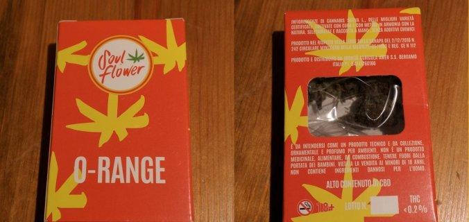 Scatola in cartoncino di Canapa Legale O-Range di Soul Flower