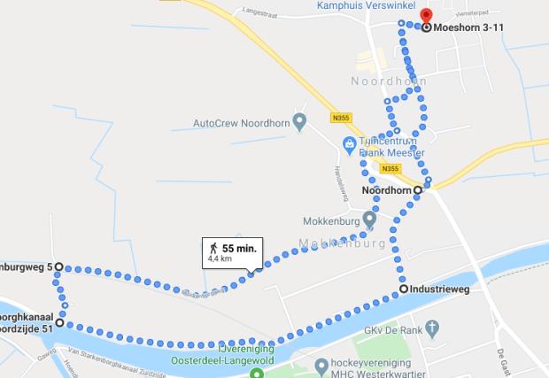 Wandelroute Mokkenburg Noordhorn
