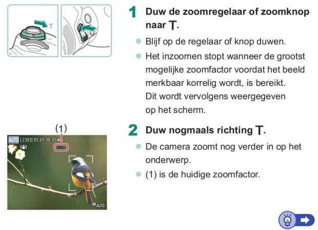 zoom gebruiken canon powershot sx70hs