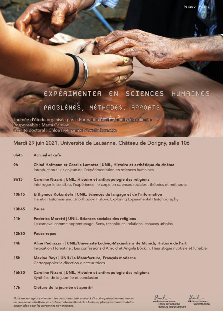 Expérimenter en sciences humaines. Problèmes, méthodes, apports. Journée d'étude organisée par la Formation doctorale interdisciplinaire, Université de Lausanne.